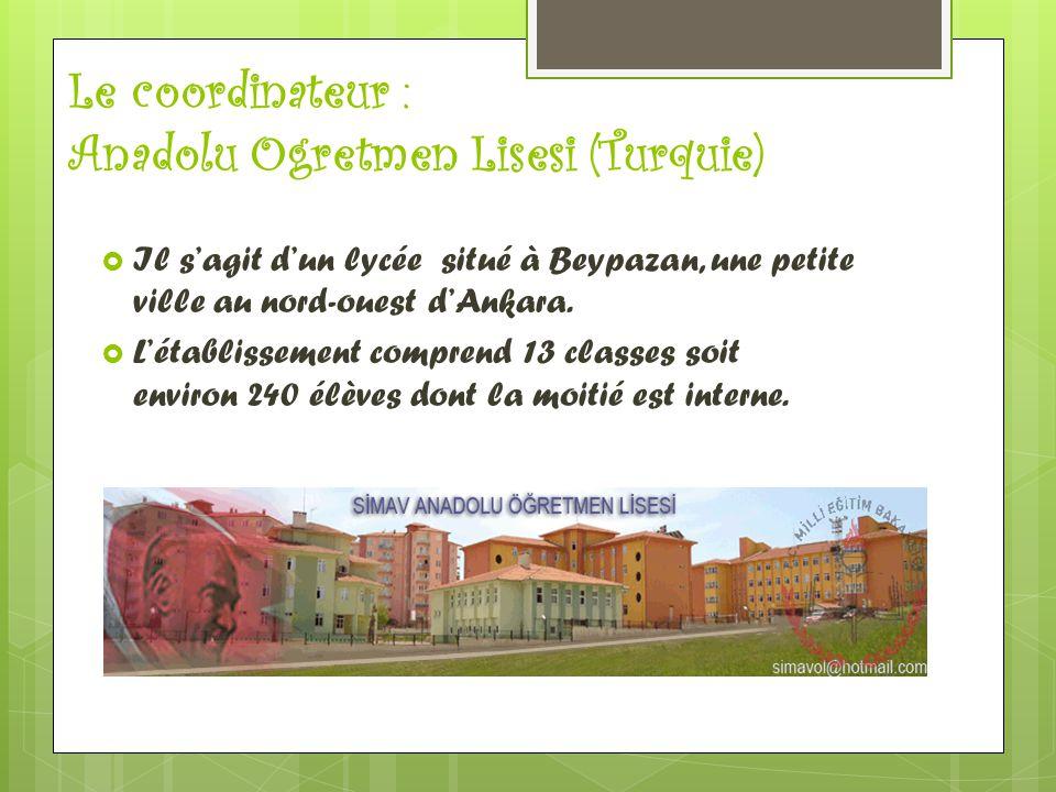 Le coordinateur : Anadolu Ogretmen Lisesi (Turquie)  Il s'agit d'un lycée situé à Beypazan, une petite ville au nord-ouest d'Ankara.  L'établissemen