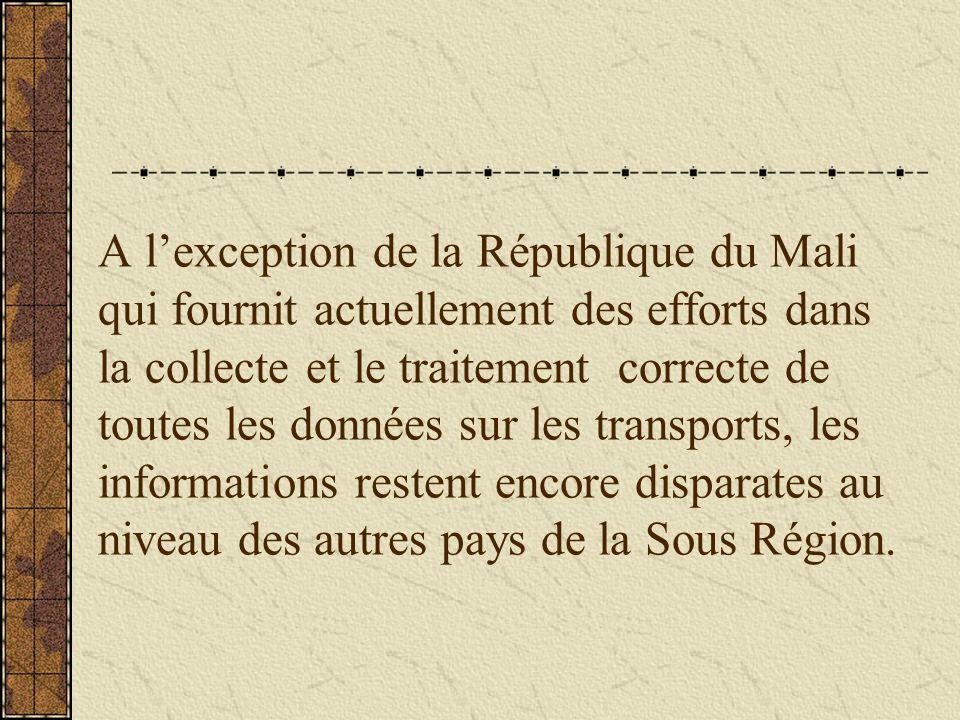 A l'exception de la République du Mali qui fournit actuellement des efforts dans la collecte et le traitement correcte de toutes les données sur les transports, les informations restent encore disparates au niveau des autres pays de la Sous Région.