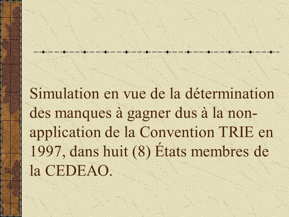 Simulation en vue de la détermination des manques à gagner dus à la non- application de la Convention TRIE en 1997, dans huit (8) États membres de la CEDEAO.
