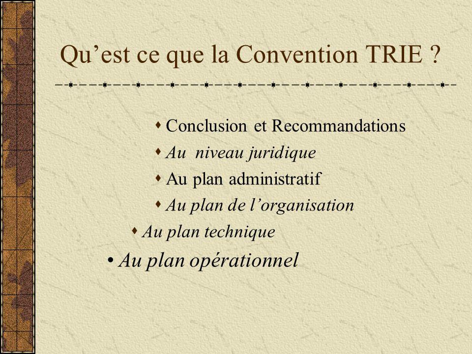 Qu'est ce que la Convention TRIE .