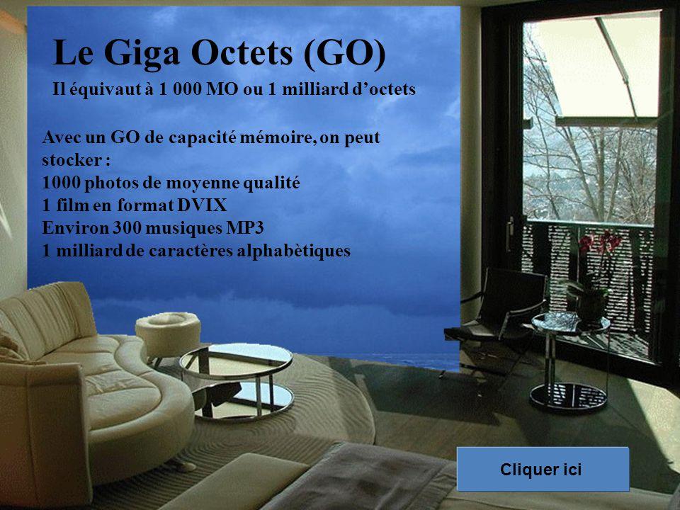 Le Giga Octets (GO) Il équivaut à 1 000 MO ou 1 milliard d'octets Avec un GO de capacité mémoire, on peut stocker : 1000 photos de moyenne qualité 1 film en format DVIX Environ 300 musiques MP3 1 milliard de caractères alphabètiques Cliquer ici
