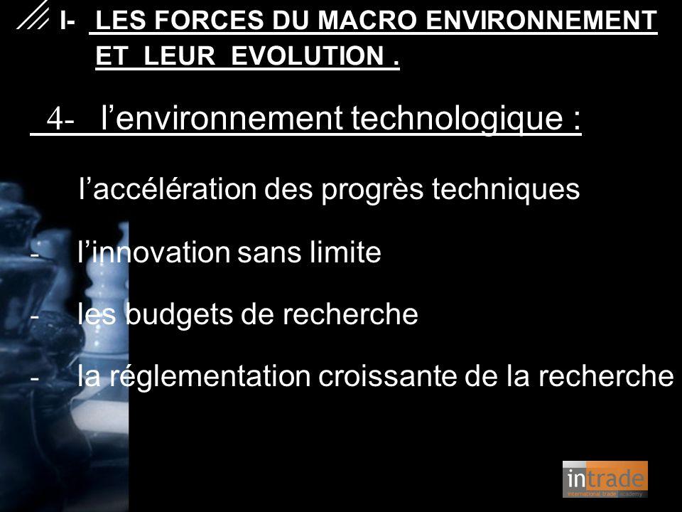 4- l'environnement technologique : l'accélération des progrès techniques - l'innovation sans limite - les budgets de recherche - la réglementation cro