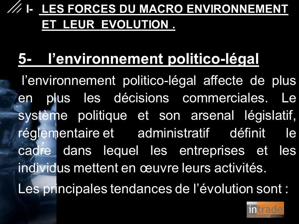 5- l'environnement politico-légal l'environnement politico-légal affecte de plus en plus les décisions commerciales. Le système politique et son arsen