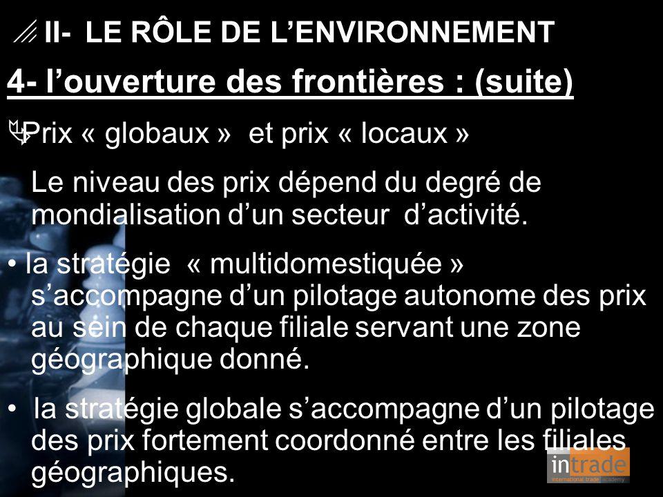 4- l'ouverture des frontières : (suite)  Prix « globaux » et prix « locaux » Le niveau des prix dépend du degré de mondialisation d'un secteur d'acti