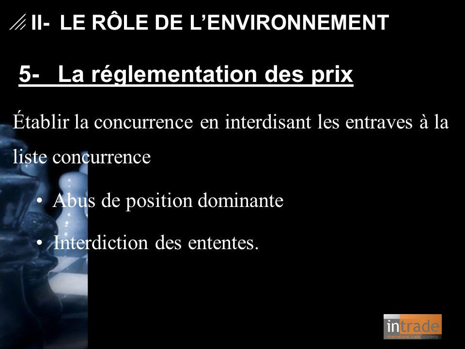   II- LE RÔLE DE L'ENVIRONNEMENT 5- La réglementation des prix Établir la concurrence en interdisant les entraves à la liste concurrence Abus de pos