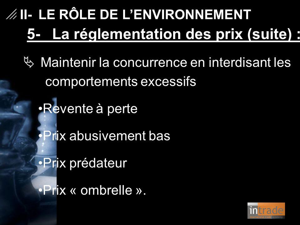   II- LE RÔLE DE L'ENVIRONNEMENT 5- La réglementation des prix (suite) :  Maintenir la concurrence en interdisant les comportements excessifs Reven