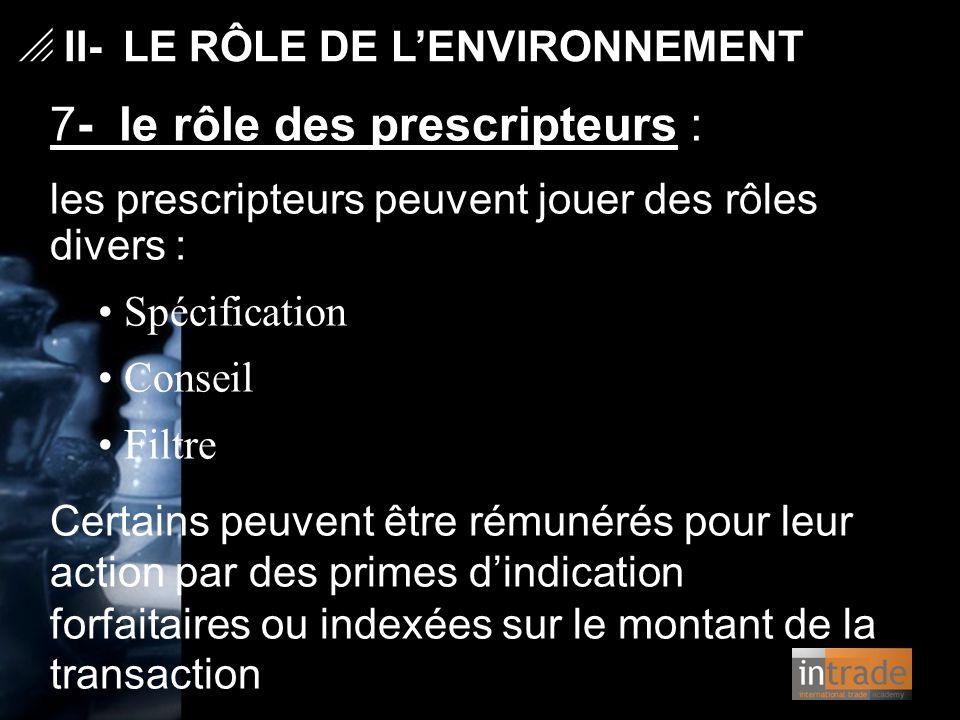   II- LE RÔLE DE L'ENVIRONNEMENT 7- le rôle des prescripteurs : les prescripteurs peuvent jouer des rôles divers : Spécification Conseil Filtre Cert