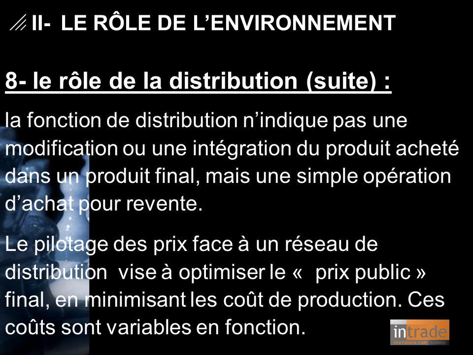   II- LE RÔLE DE L'ENVIRONNEMENT 8- le rôle de la distribution (suite) : la fonction de distribution n'indique pas une modification ou une intégrati