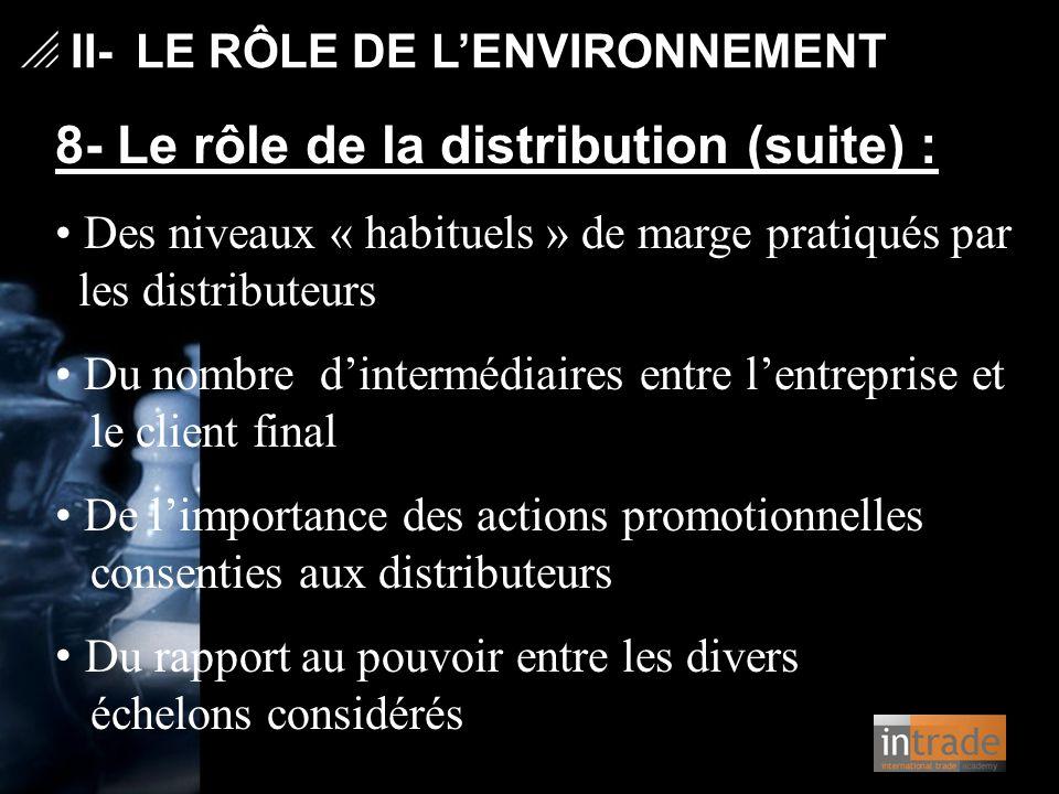   II- LE RÔLE DE L'ENVIRONNEMENT 8- Le rôle de la distribution (suite) : Des niveaux « habituels » de marge pratiqués par les distributeurs Du nombr