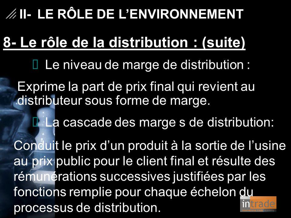   II- LE RÔLE DE L'ENVIRONNEMENT 8- Le rôle de la distribution : (suite) Ø Le niveau de marge de distribution : Exprime la part de prix final qui re