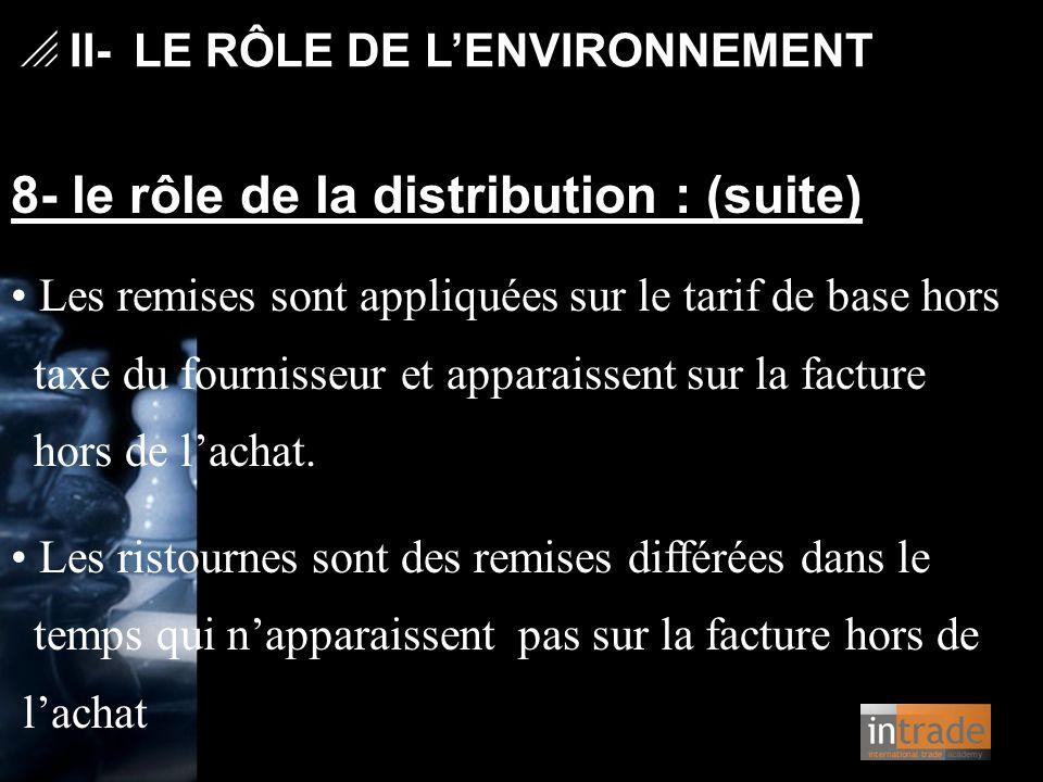   II- LE RÔLE DE L'ENVIRONNEMENT 8- le rôle de la distribution : (suite) Les remises sont appliquées sur le tarif de base hors taxe du fournisseur e
