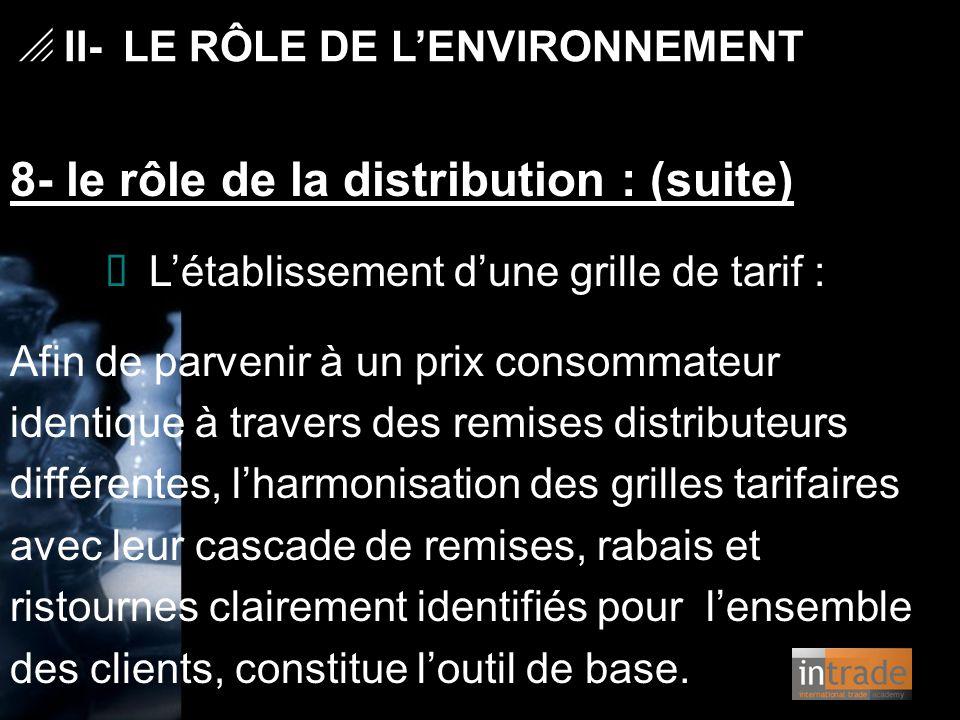   II- LE RÔLE DE L'ENVIRONNEMENT 8- le rôle de la distribution : (suite) Ø L'établissement d'une grille de tarif : Afin de parvenir à un prix consom