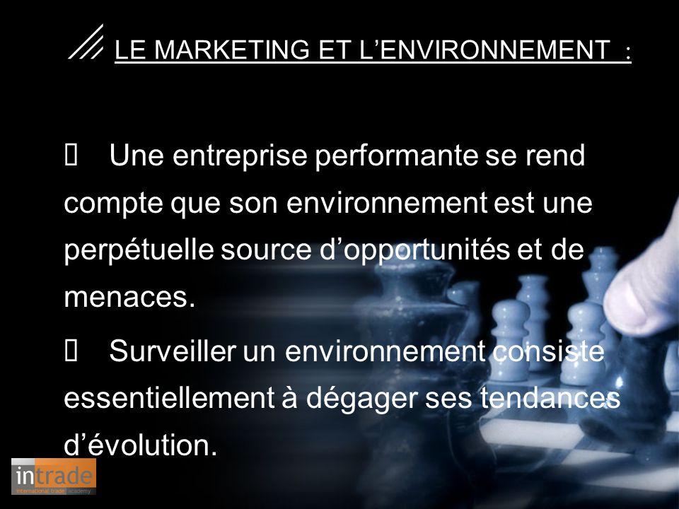   LE MARKETING ET L'ENVIRONNEMENT :  Une entreprise performante se rend compte que son environnement est une perpétuelle source d'opportunités et d