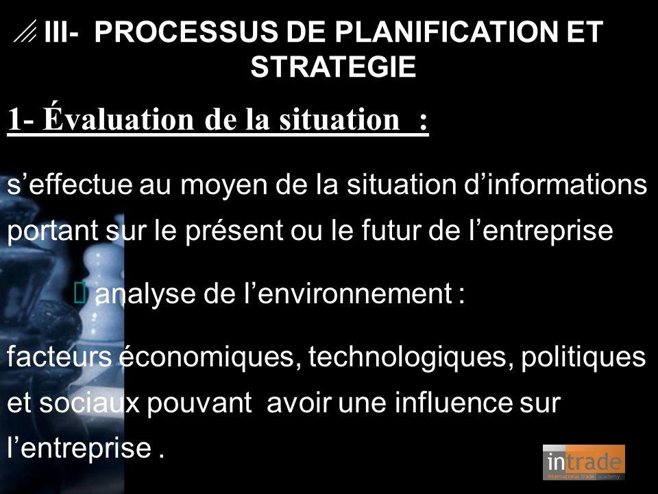   III- PROCESSUS DE PLANIFICATION ET STRATEGIE 1- Évaluation de la situation : s'effectue au moyen de la situation d'informations portant sur le pré