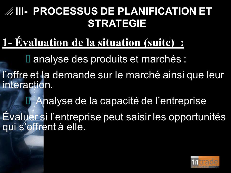 1- Évaluation de la situation (suite) : Ø analyse des produits et marchés : l'offre et la demande sur le marché ainsi que leur interaction. Ø Analyse