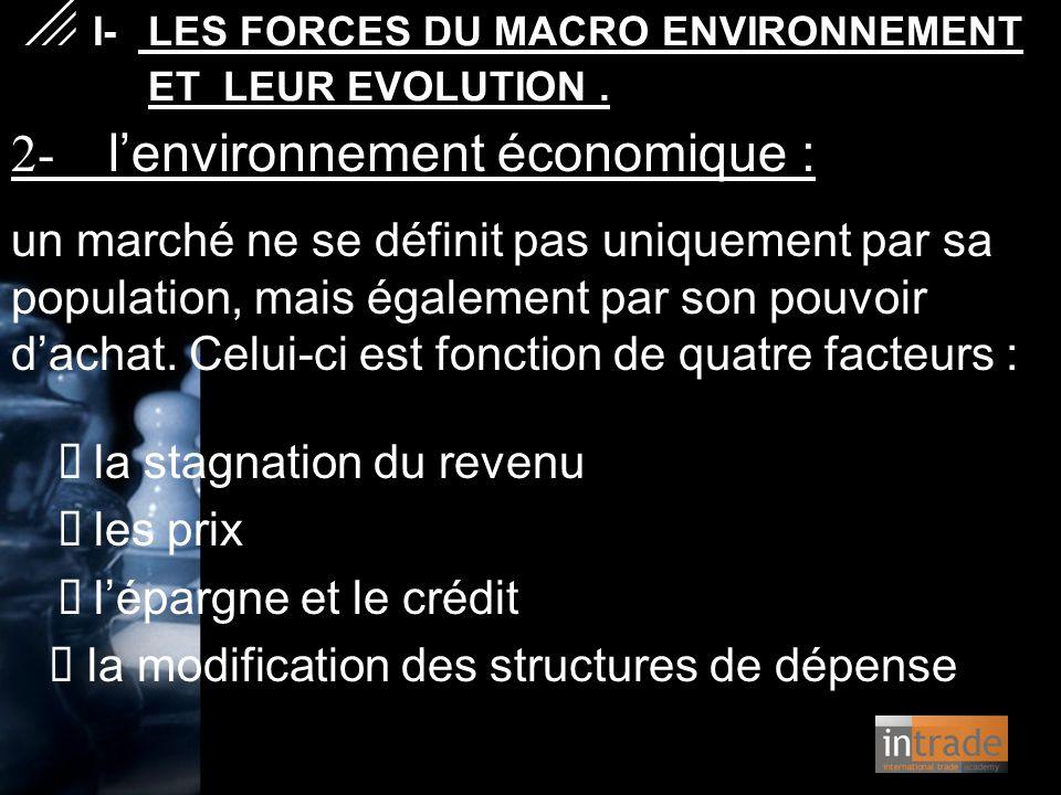 2- l'environnement économique : un marché ne se définit pas uniquement par sa population, mais également par son pouvoir d'achat. Celui-ci est fonctio