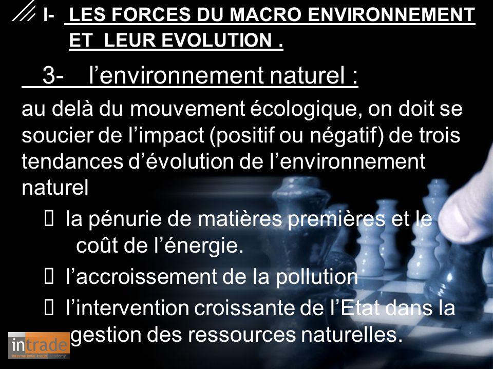 3- l'environnement naturel : au delà du mouvement écologique, on doit se soucier de l'impact (positif ou négatif) de trois tendances d'évolution de l'