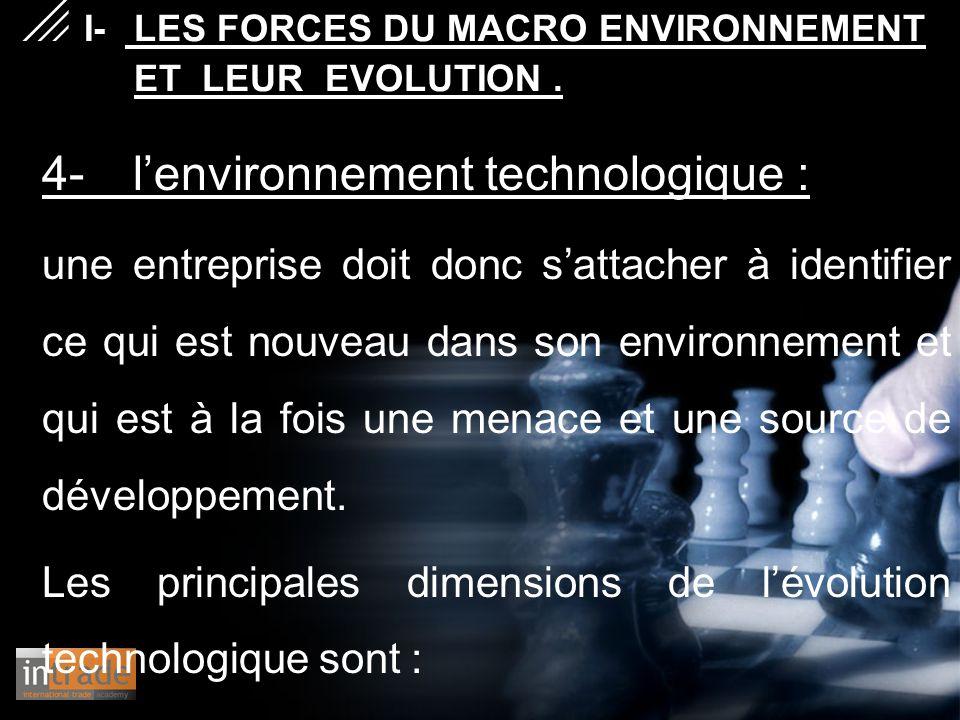 4- l'environnement technologique : une entreprise doit donc s'attacher à identifier ce qui est nouveau dans son environnement et qui est à la fois une