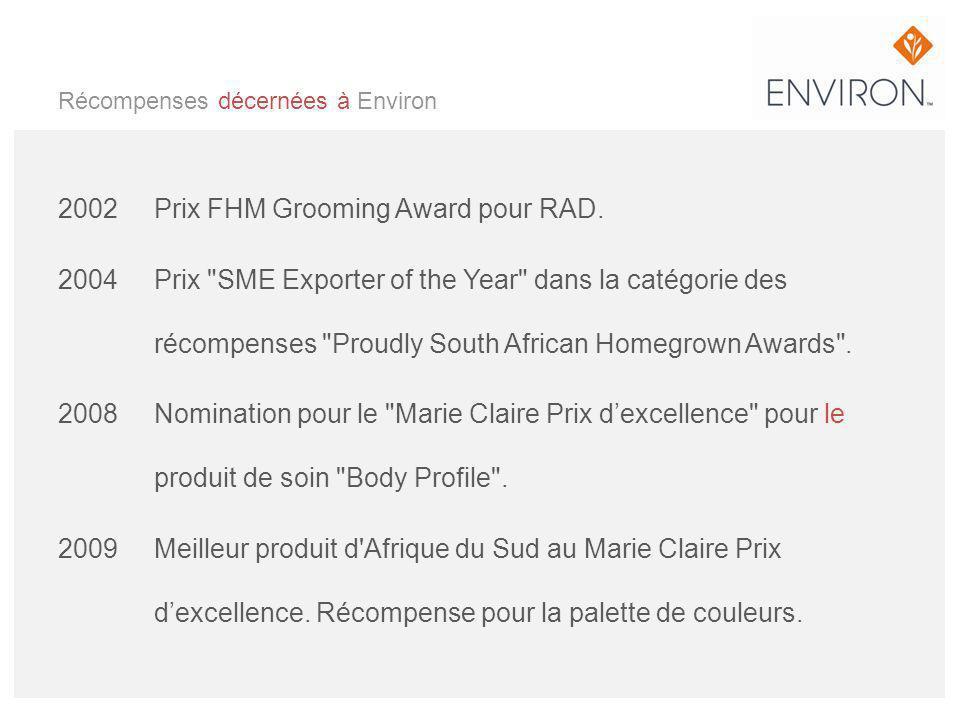 Récompenses décernées à Environ 2002 Prix FHM Grooming Award pour RAD. 2004 Prix