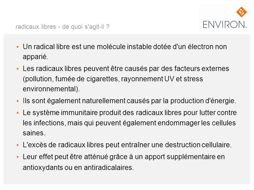 radicaux libres - de quoi s'agit-il ? Un radical libre est une molécule instable dotée d'un électron non apparié. Les radicaux libres peuvent être cau