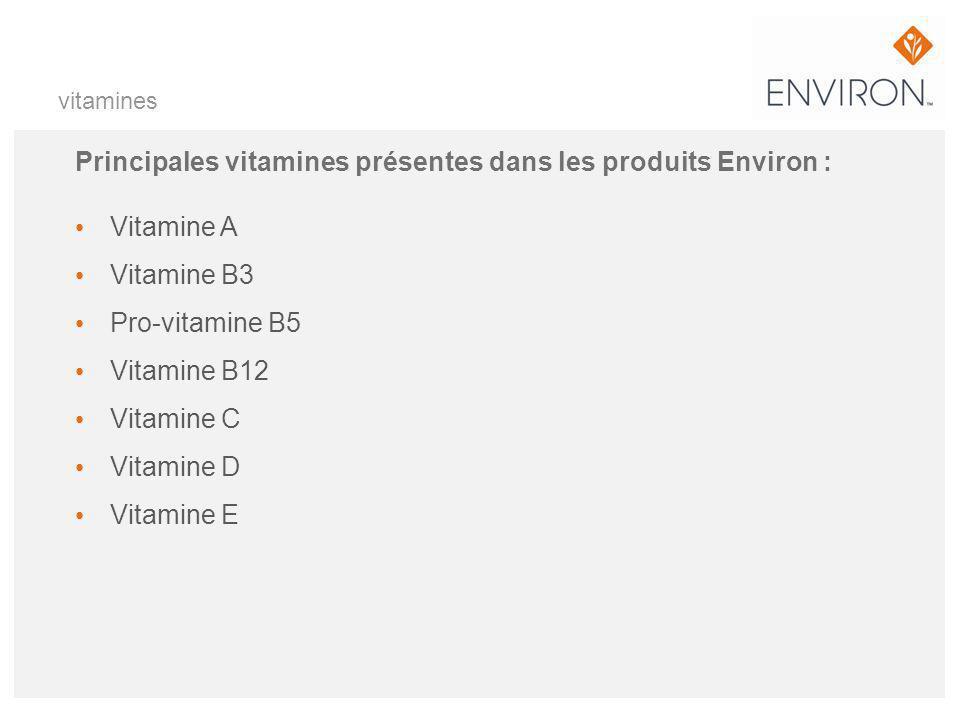 vitamines Principales vitamines présentes dans les produits Environ : Vitamine A Vitamine B3 Pro-vitamine B5 Vitamine B12 Vitamine C Vitamine D Vitami
