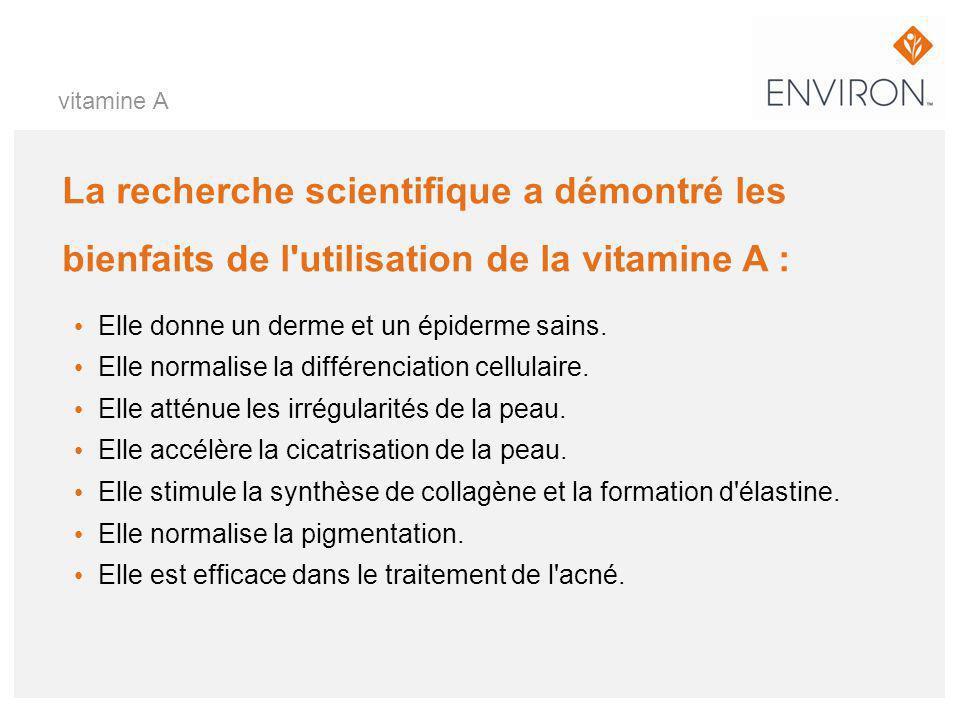 La recherche scientifique a démontré les bienfaits de l'utilisation de la vitamine A : Elle donne un derme et un épiderme sains. Elle normalise la dif