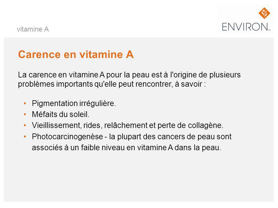 Carence en vitamine A La carence en vitamine A pour la peau est à l'origine de plusieurs problèmes importants qu'elle peut rencontrer, à savoir : Pigm