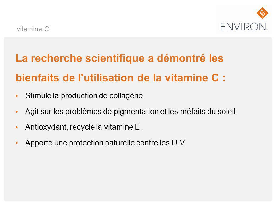 La recherche scientifique a démontré les bienfaits de l'utilisation de la vitamine C : Stimule la production de collagène. Agit sur les problèmes de p
