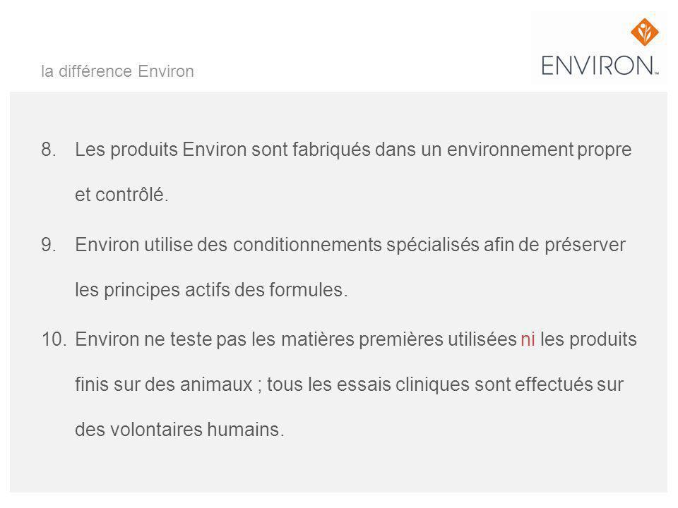 la différence Environ 8. Les produits Environ sont fabriqués dans un environnement propre et contrôlé. 9. Environ utilise des conditionnements spécial