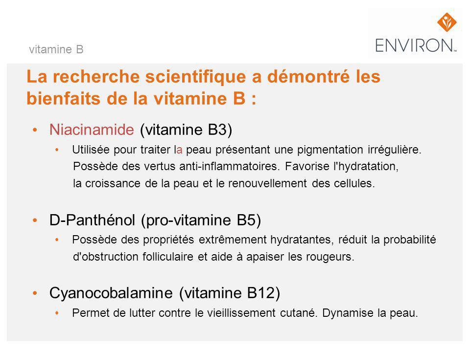 La recherche scientifique a démontré les bienfaits de la vitamine B : Niacinamide (vitamine B3) Utilisée pour traiter la peau présentant une pigmentat