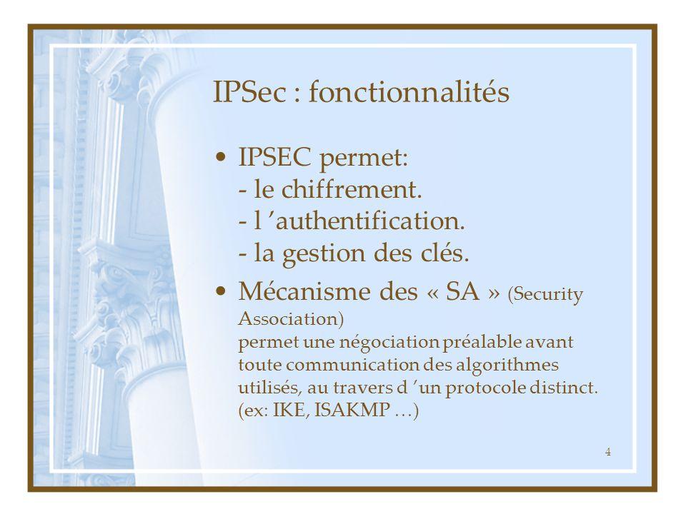 4 IPSec : fonctionnalités IPSEC permet: - le chiffrement. - l 'authentification. - la gestion des clés. Mécanisme des « SA » (Security Association) pe