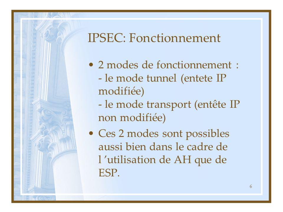 7 IPSEC : fonctionnement AH AH Données Entête IP Datagramme d 'origine Données Entête IP Mode Transport Authentifié (sauf champs variables d 'entête IP) Données Mode tunnel Entête IP AH Nouvel Entête IP Authentifié (sauf champs variables d 'entête IP)