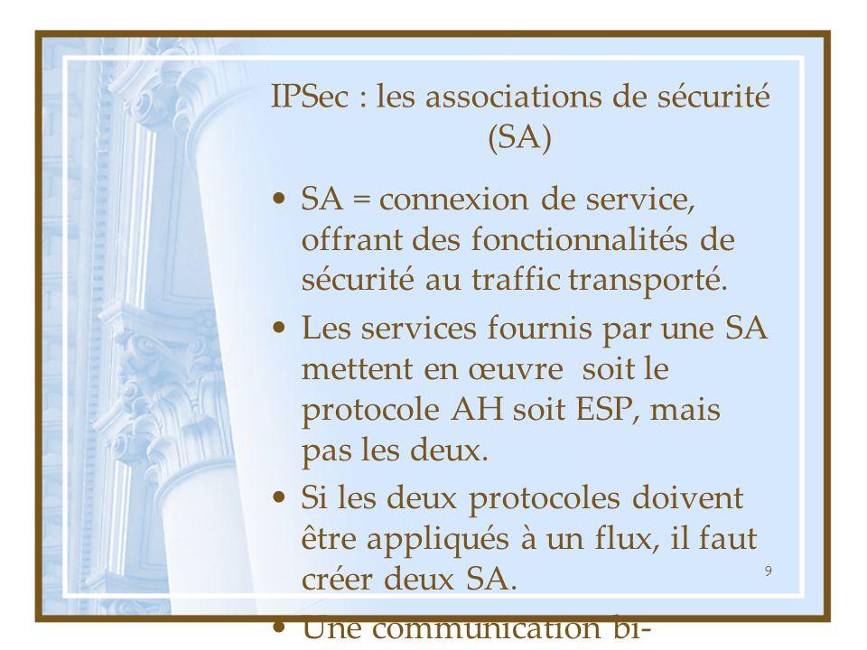 9 IPSec : les associations de sécurité (SA) SA = connexion de service, offrant des fonctionnalités de sécurité au traffic transporté. Les services fou