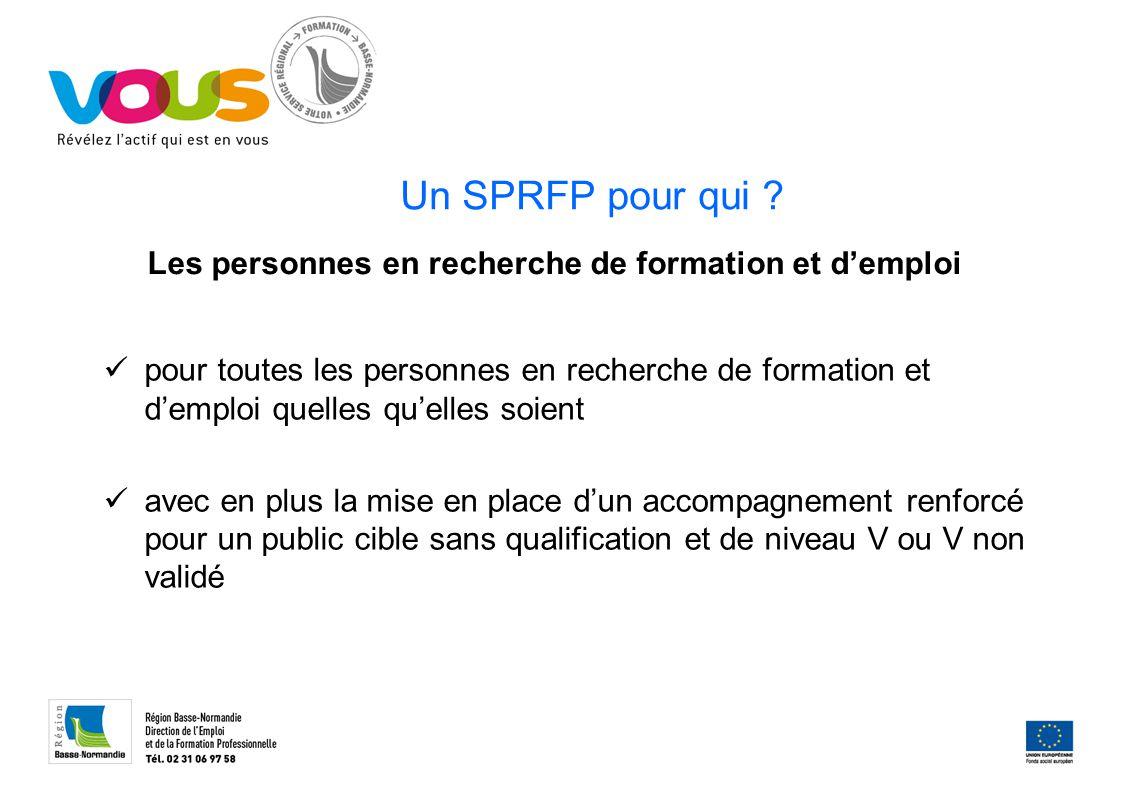 Un SPRFP pour qui ? pour toutes les personnes en recherche de formation et d'emploi quelles qu'elles soient avec en plus la mise en place d'un accompa
