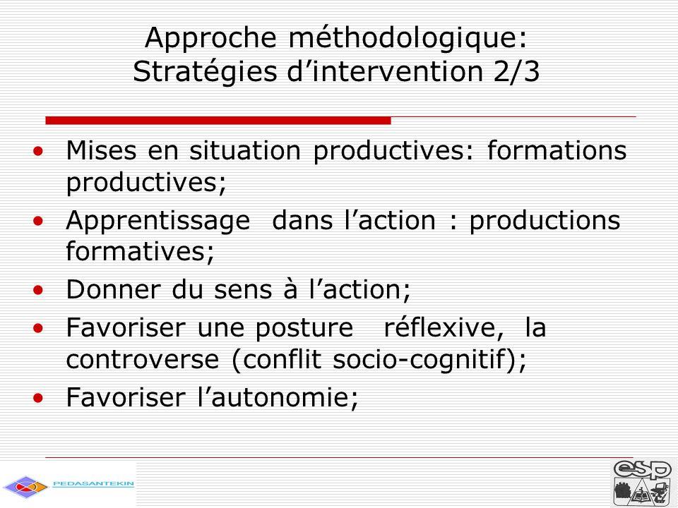 Approche méthodologique: Stratégies d'intervention 3/3 Constitution d'une équipe-ressource de soutien de proximité; Organisation des unités pédagogiques ; Accompagnement à distance des enseignants; Mutualisation des pratiques enseignantes