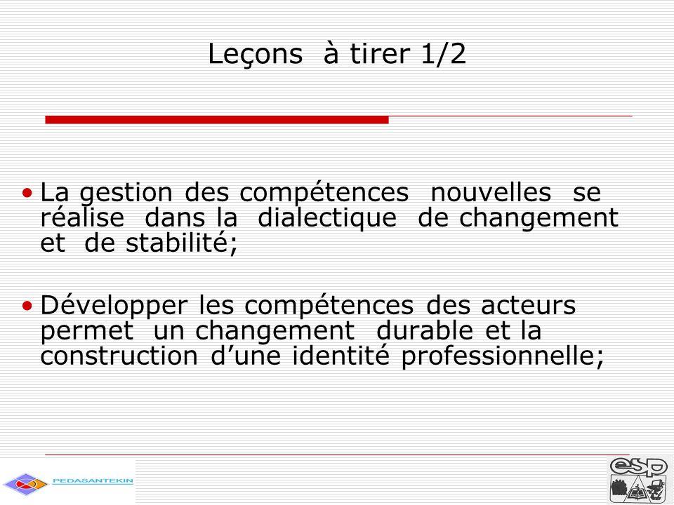 Leçons à tirer 1/2 La gestion des compétences nouvelles se réalise dans la dialectique de changement et de stabilité; Développer les compétences des acteurs permet un changement durable et la construction d'une identité professionnelle;