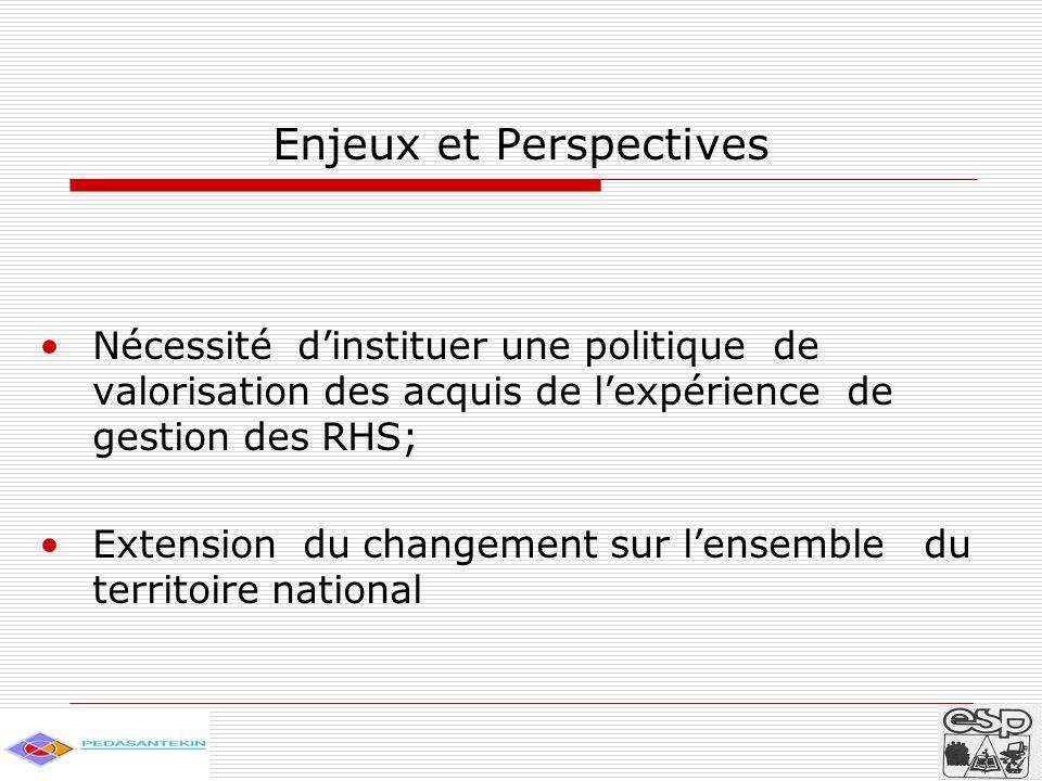 Enjeux et Perspectives Nécessité d'instituer une politique de valorisation des acquis de l'expérience de gestion des RHS; Extension du changement sur l'ensemble du territoire national