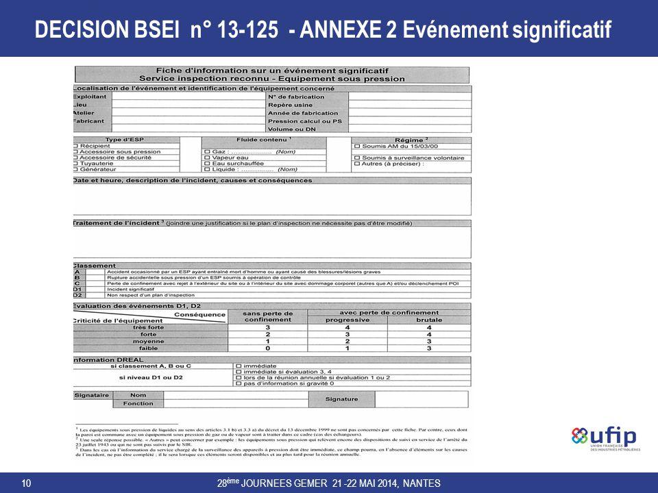 DECISION BSEI n° 13-125 - ANNEXE 2 Evénement significatif 28 ème JOURNEES GEMER 21 -22 MAI 2014, NANTES10
