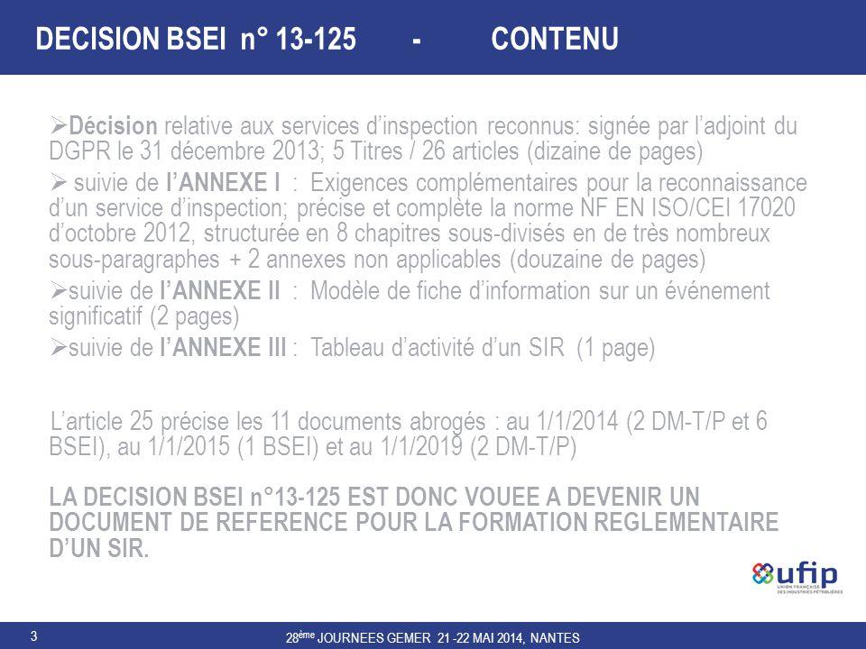3 DECISION BSEI n° 13-125 - CONTENU  Décision relative aux services d'inspection reconnus: signée par l'adjoint du DGPR le 31 décembre 2013; 5 Titres