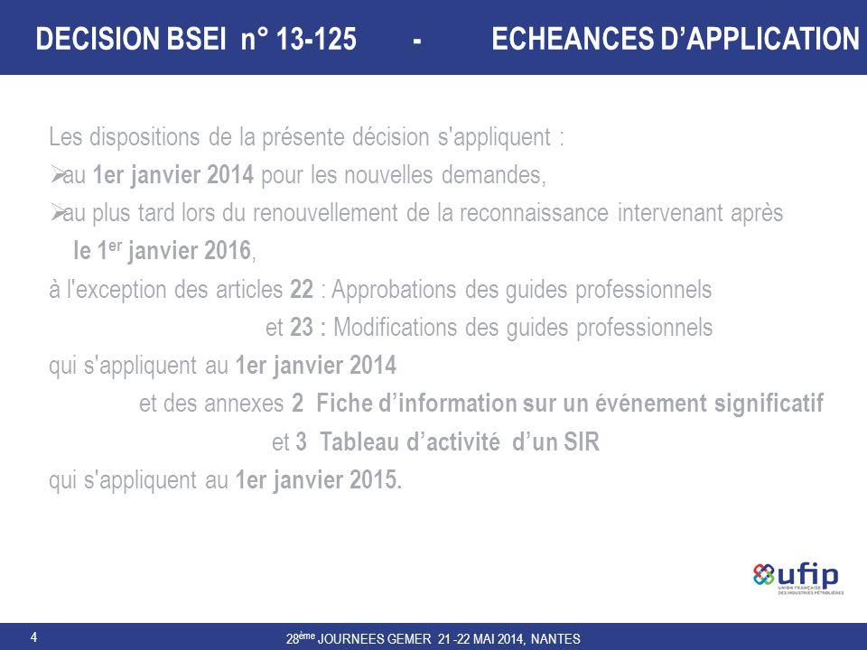 28 ème JOURNEES GEMER 21 -22 MAI 2014, NANTES 4 DECISION BSEI n° 13-125 - ECHEANCES D'APPLICATION Les dispositions de la présente décision s'appliquen