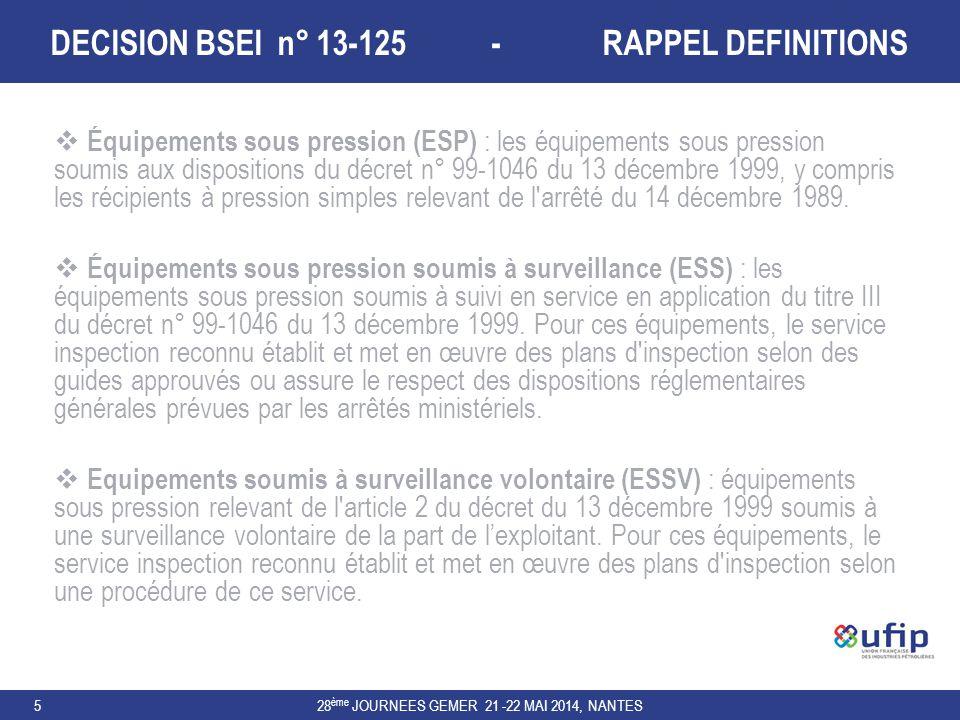 DECISION BSEI n° 13-125 - RAPPEL DEFINITIONS 28 ème JOURNEES GEMER 21 -22 MAI 2014, NANTES5  Équipements sous pression (ESP) : les équipements sous p