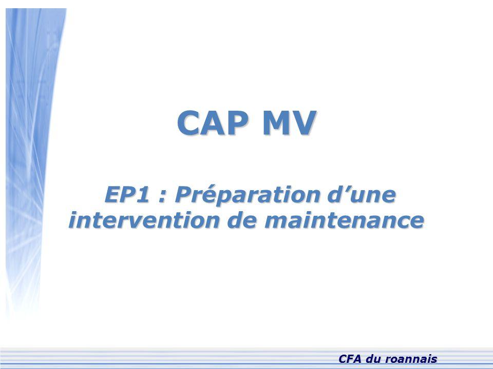 CAP MV EP1 : Préparation d'une intervention de maintenance EP1 : Préparation d'une intervention de maintenance CFA du roannais