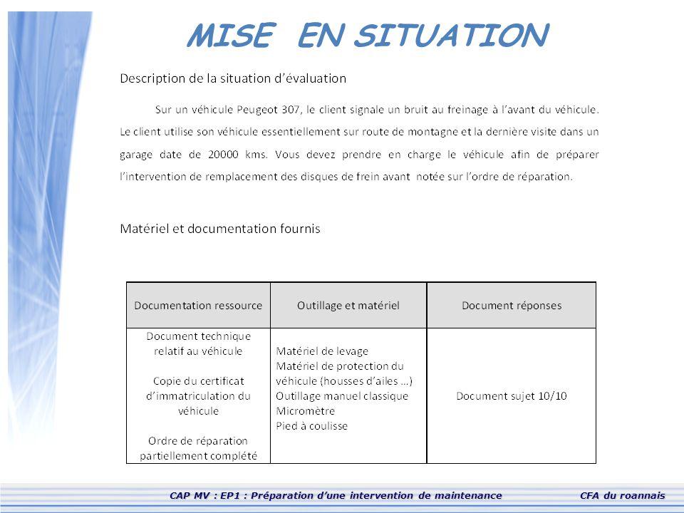 CAP MV : EP1 : Préparation d'une intervention de maintenanceCFA du roannais MISE EN SITUATION