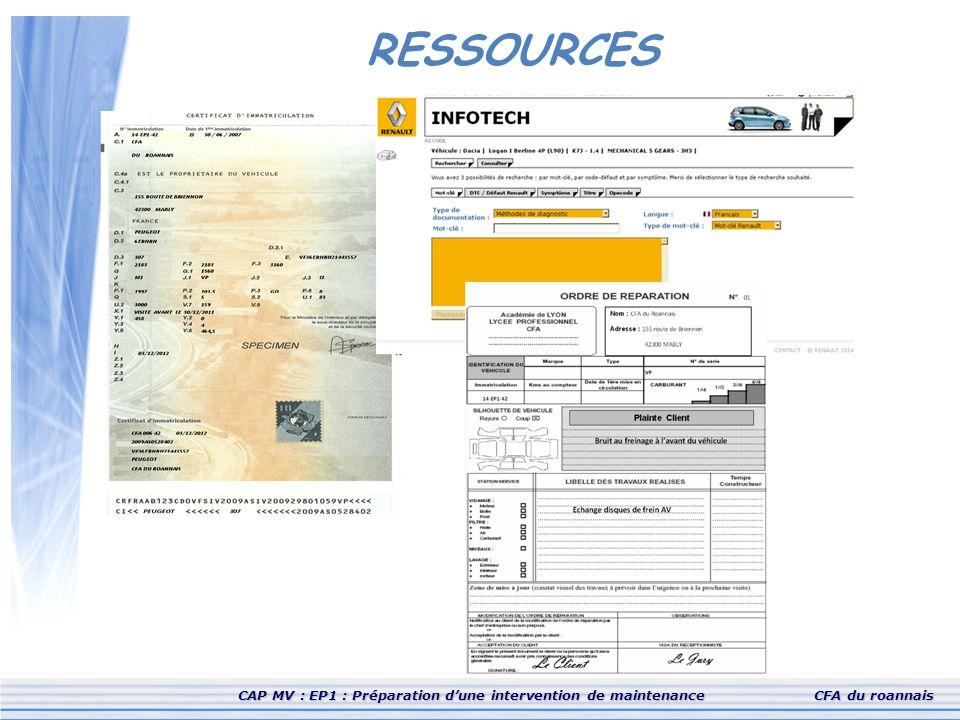 CAP MV : EP1 : Préparation d'une intervention de maintenanceCFA du roannais RESSOURCES