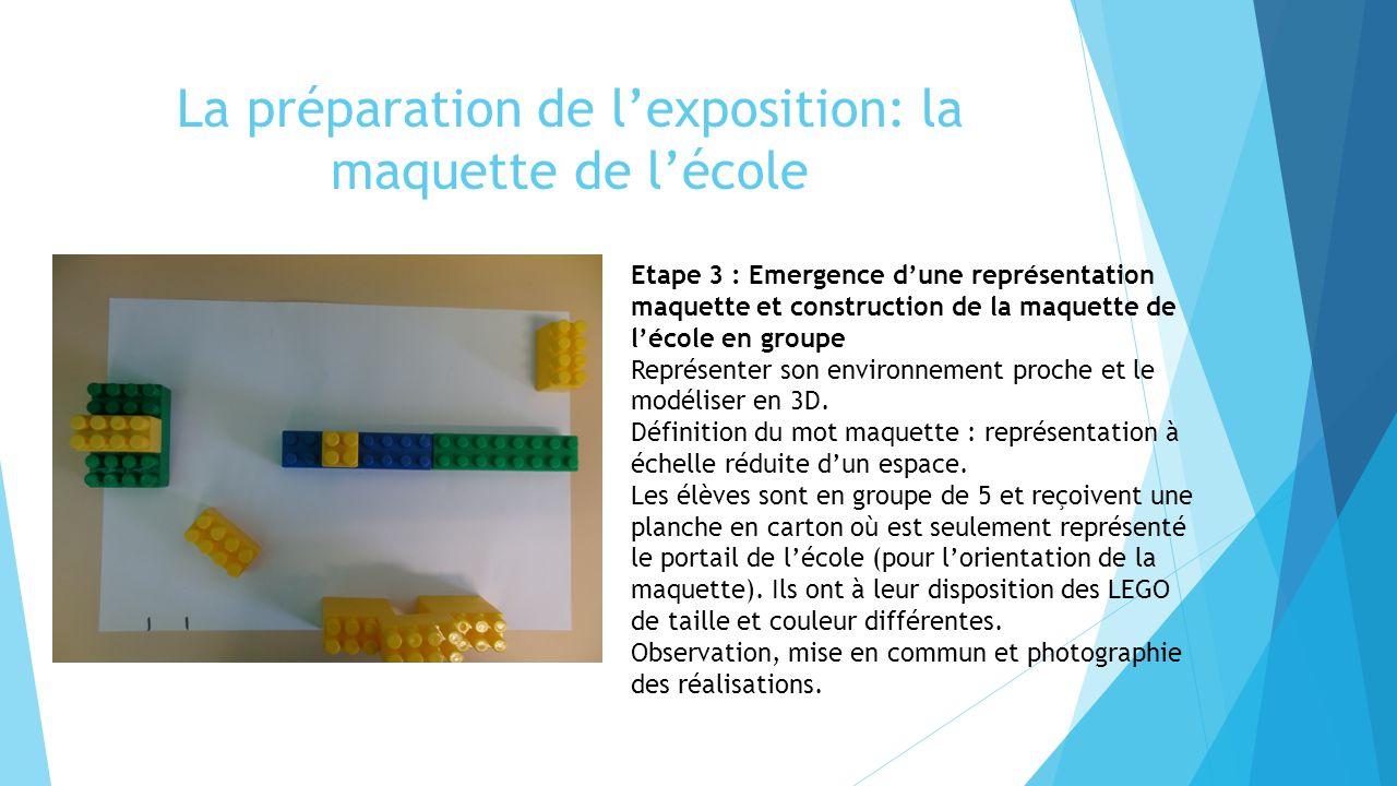 La préparation de l'exposition: la maquette de l'école Etape 3 : Emergence d'une représentation maquette et construction de la maquette de l'école en