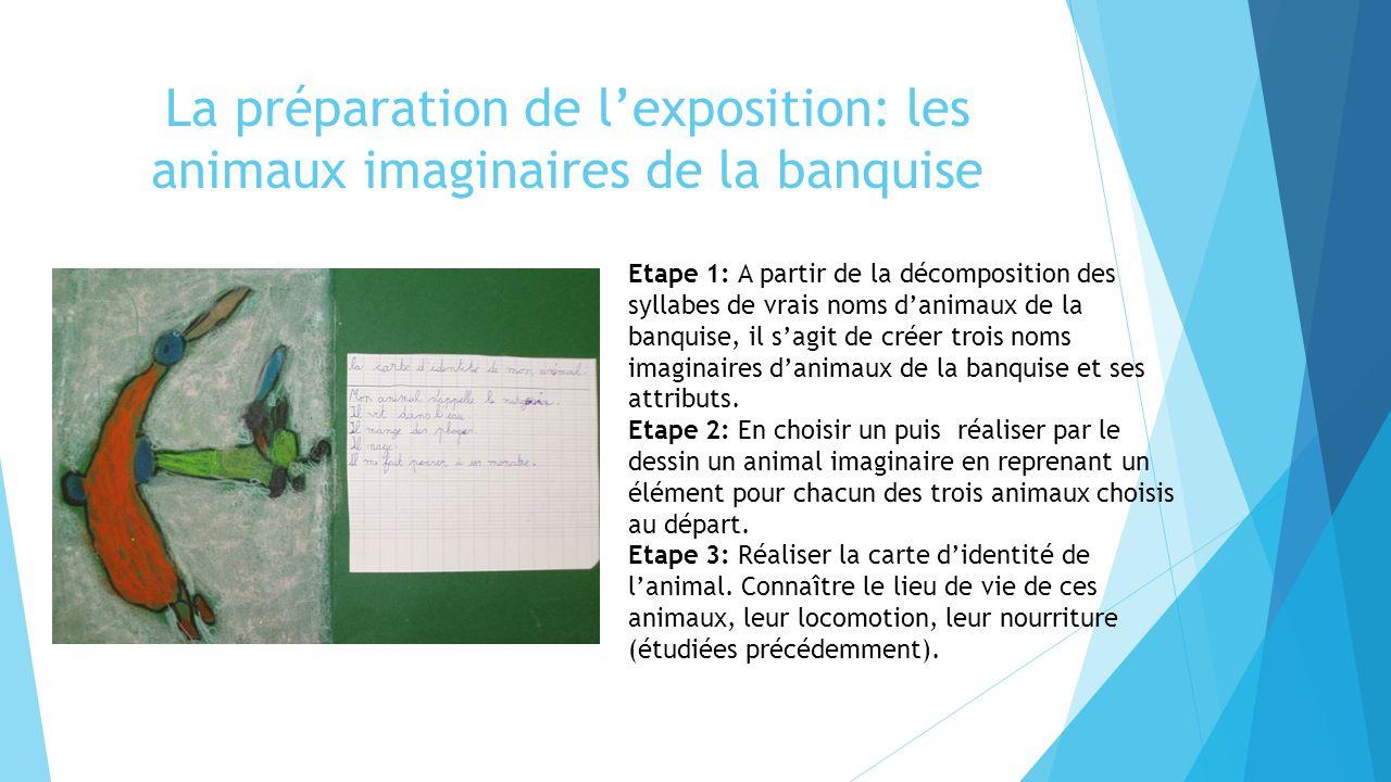 La préparation de l'exposition: les animaux imaginaires de la banquise Etape 1: A partir de la décomposition des syllabes de vrais noms d'animaux de l