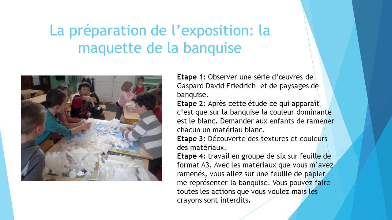 La préparation de l'exposition: la maquette de la banquise Etape 1: Observer une série d'œuvres de Gaspard David Friedrich et de paysages de banquise.