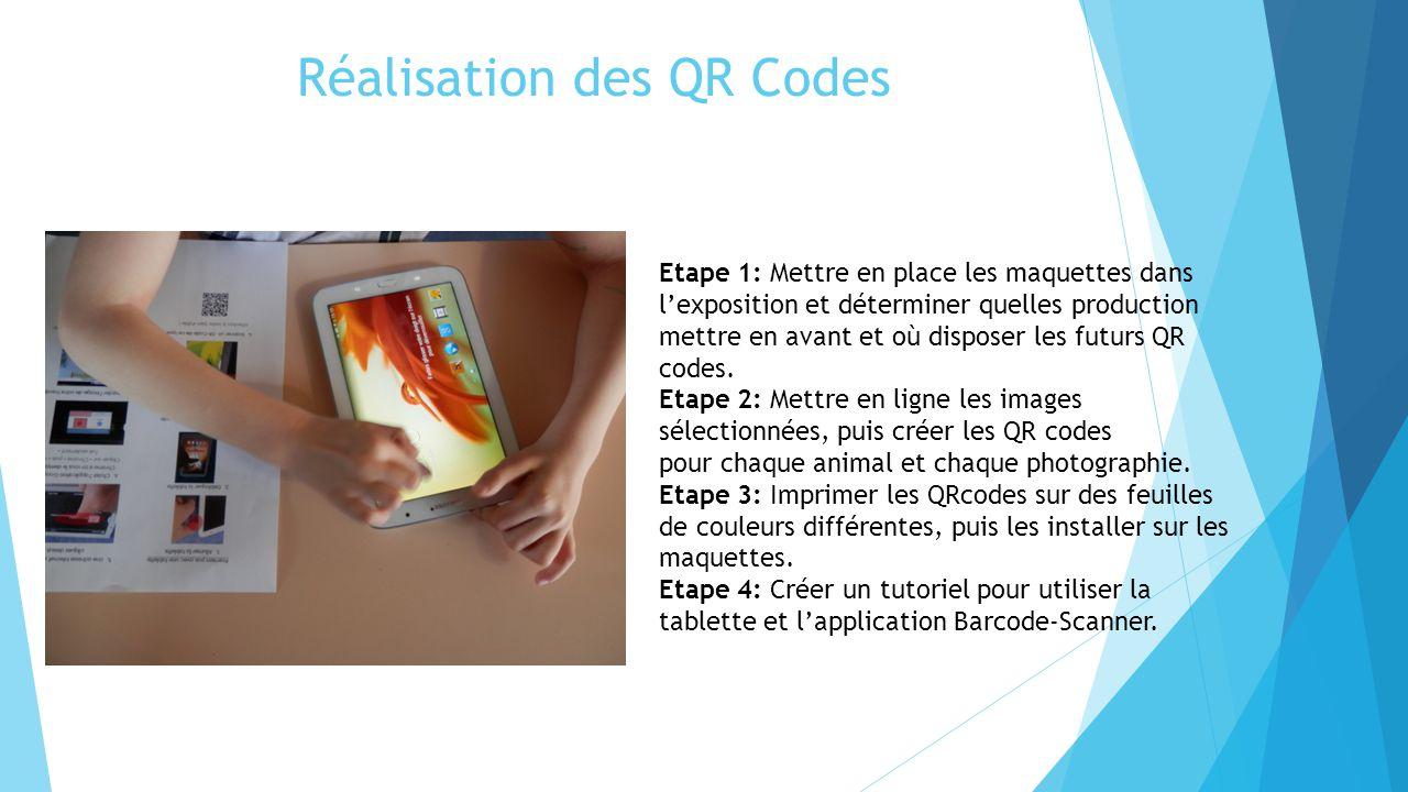 Réalisation des QR Codes Etape 1: Mettre en place les maquettes dans l'exposition et déterminer quelles production mettre en avant et où disposer les