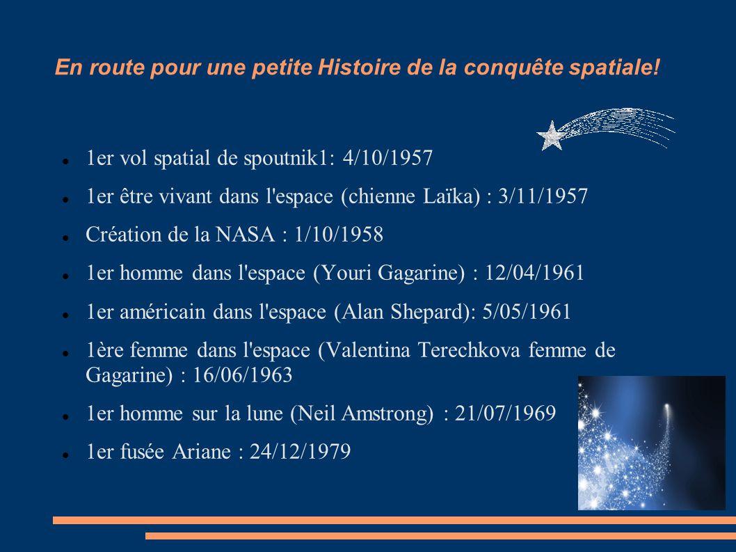 En route pour une petite Histoire de la conquête spatiale! 1er vol spatial de spoutnik1: 4/10/1957 1er être vivant dans l'espace (chienne Laïka) : 3/1