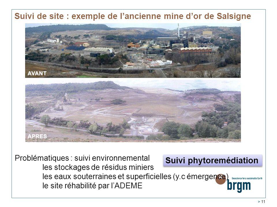 > 11 Suivi de site : exemple de l'ancienne mine d'or de Salsigne AVANT APRES Problématiques : suivi environnemental les stockages de résidus miniers l